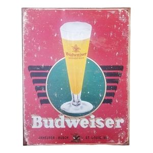 Retro Anheuser-Busch Budweiser Beer Drinking Advertising Metal Wall Plaque/Sign